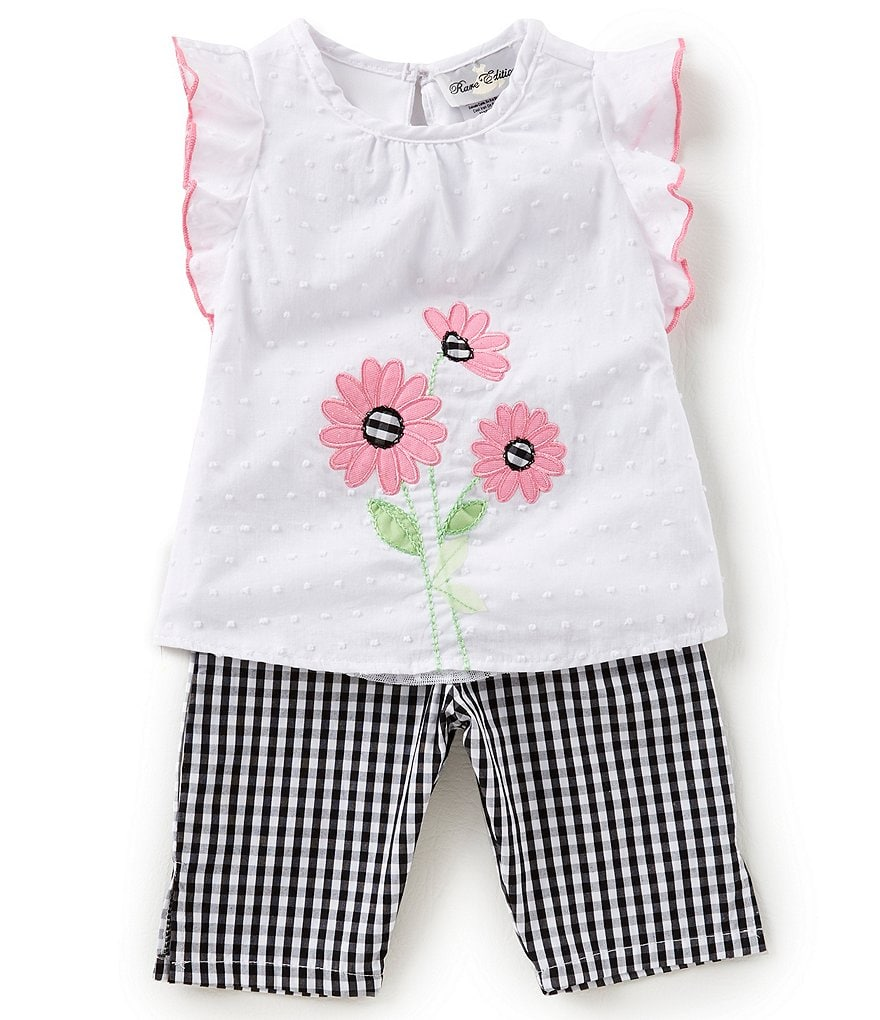 Rare Editions Baby Girls 12-24 Months Flower-Appliqued Top & Gingham-Printed Leggings Set