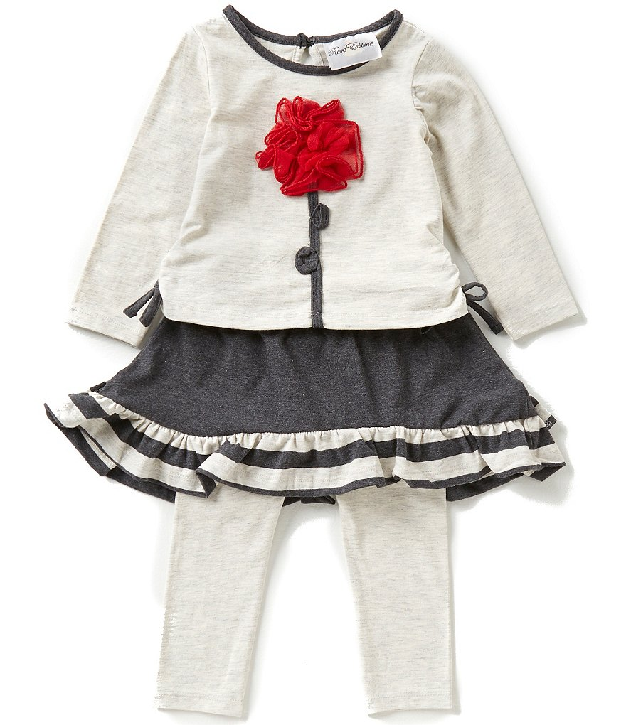 Rare Editions Baby Girls 3-24 Months Flower-Appliquéd Top and Skeggings Set