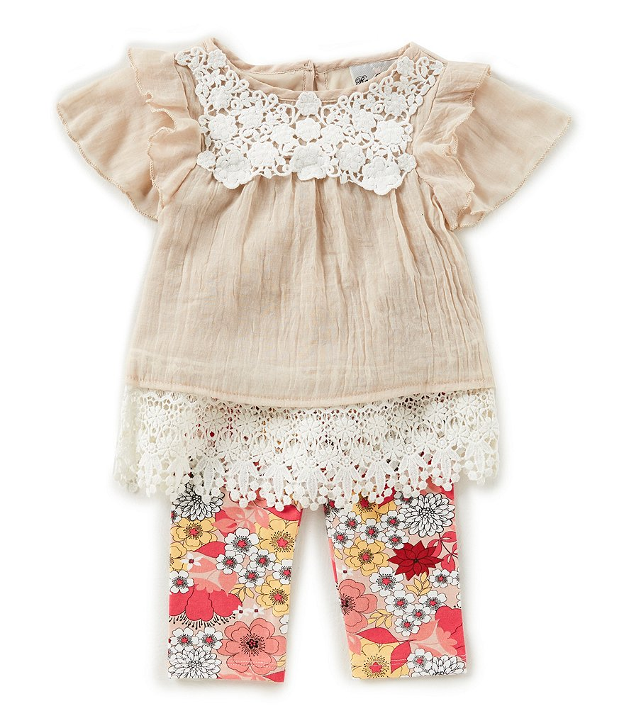 Rare Editions Baby Girls 12-24 Months Lace-Border Top & Floral-Print Leggings Set