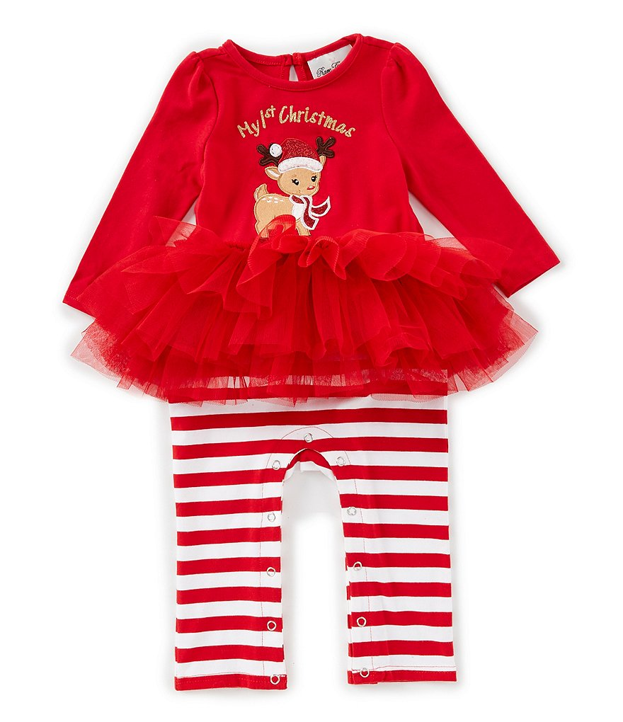 Rare Editions Baby Girls 12-24 Months My 1st Christmas Reindeer Top & Striped Leggings Set | Dillard's