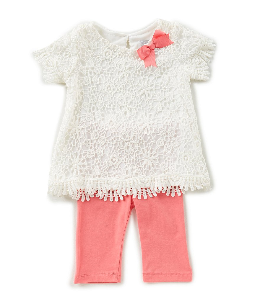 Rare Editions Baby Girls 12-24 Months Scalloped Floral-Lace Top & Solid Leggings Set
