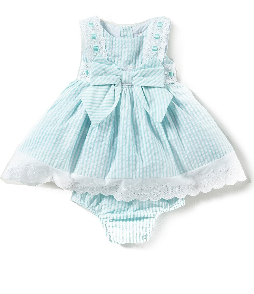 Rare Editions Baby Girls 3-24 Months Eyelet-Embroidered Seersucker Dress