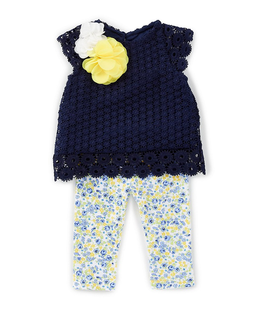 Rare Editions Baby Girls 3-24 Months Eyelet-Lace-Trimmed Top & Printed Legging Set