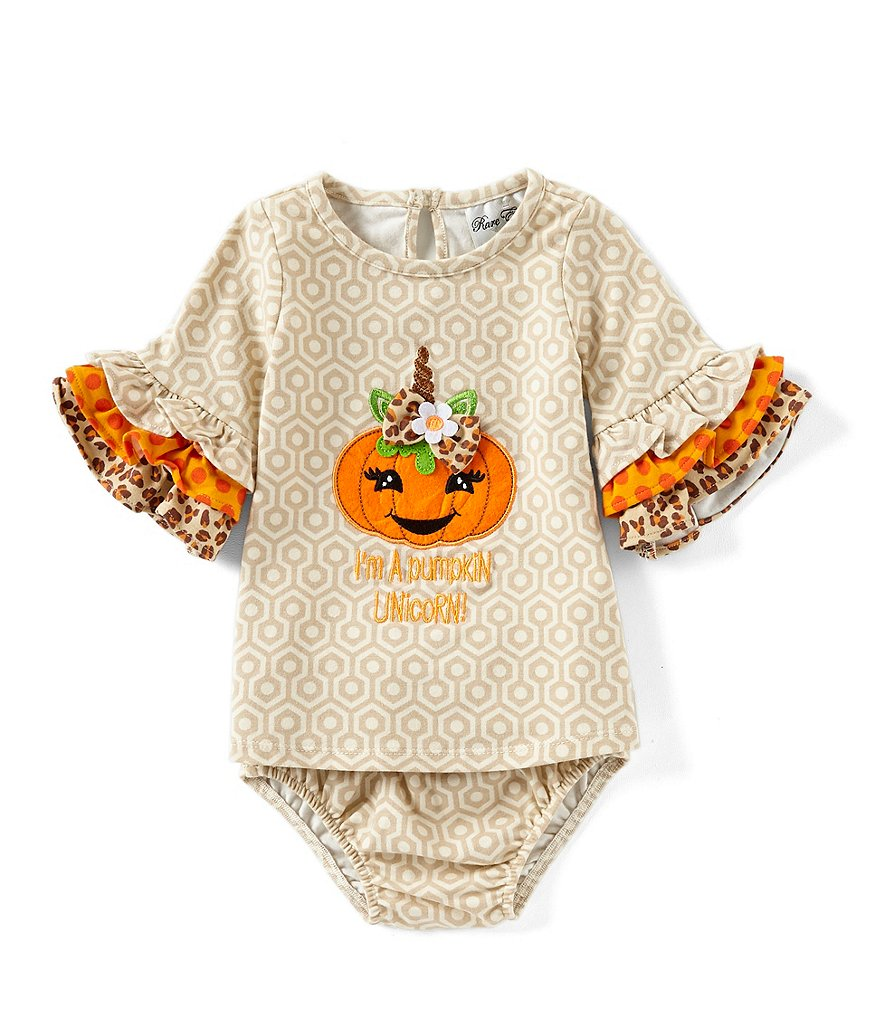 Rare Editions Baby Girls 3-24 Months Halloween Unicorn Pumpkin Shift Dress