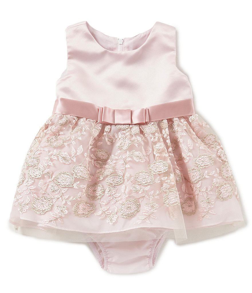 Rare Editions Baby Girls 3-24 Months Satin Embroidered-Mesh Dress