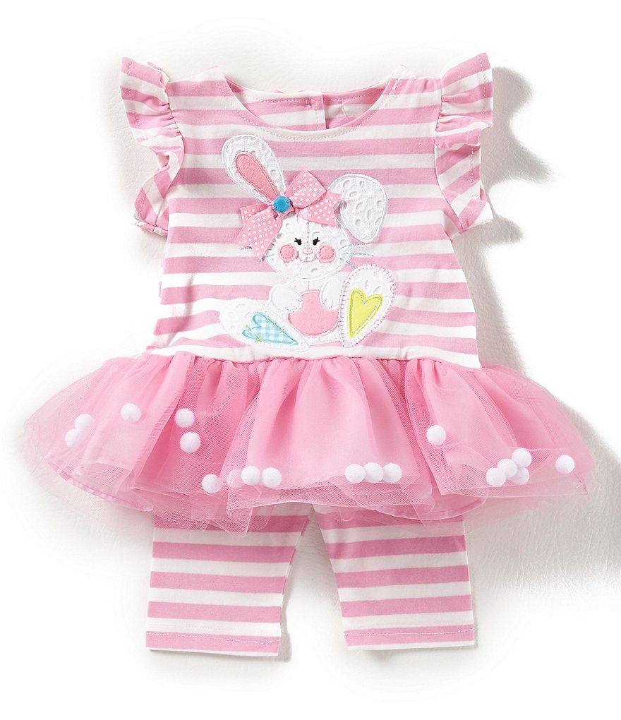 Rare Editions Baby Girls Newborn-24 Months Easter Bunny Tutu Dress & Striped Leggings Set
