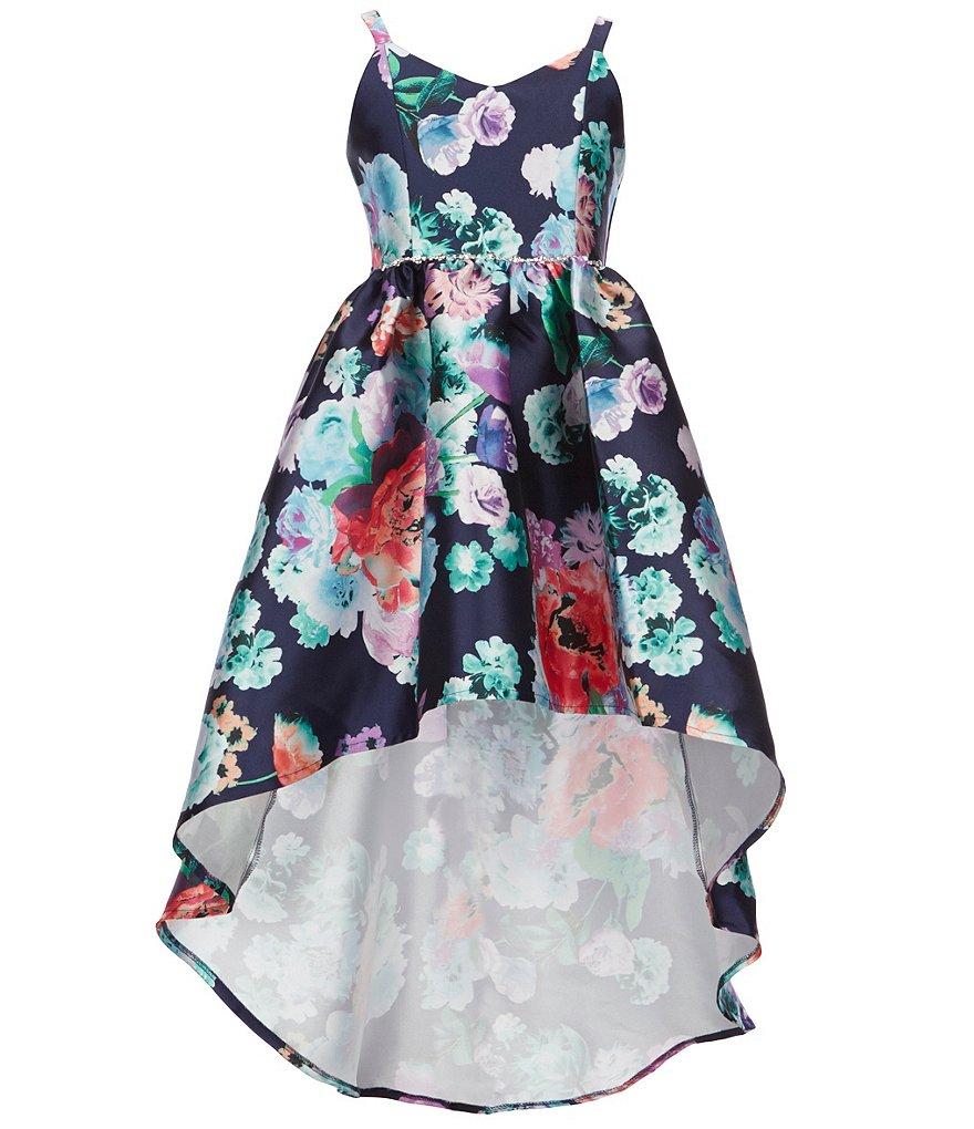 7b870ec1231 Rare Editions Big Girls 7-16 Floral-Print Extreme High-Low Dress ...