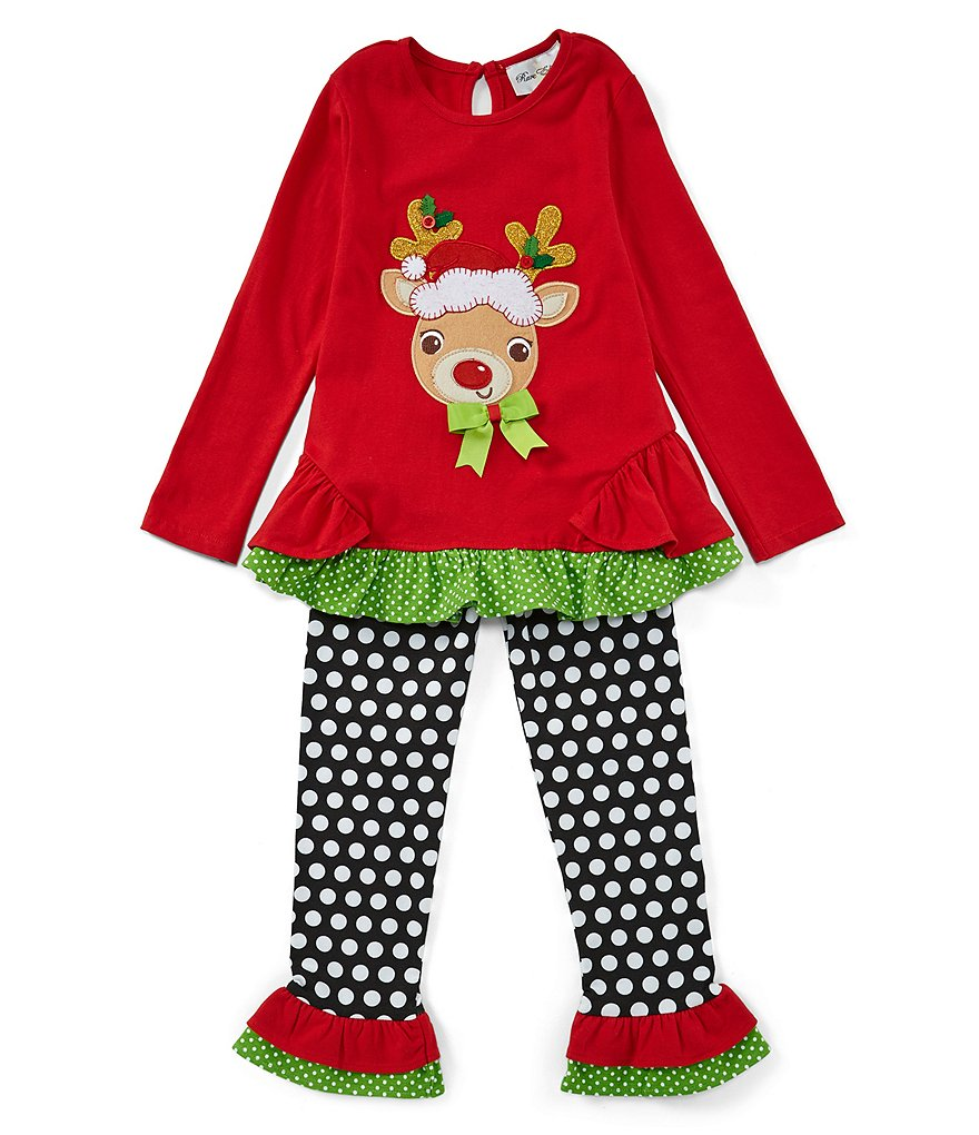 Rare Editions Little Girls 2T-6X Christmas Reindeer Tunic & Dotted Leggings Set