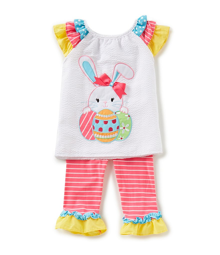 Rare Editions Little Girls 2T-6X Easter Bunny Applique Top & Stripe Leggings Set