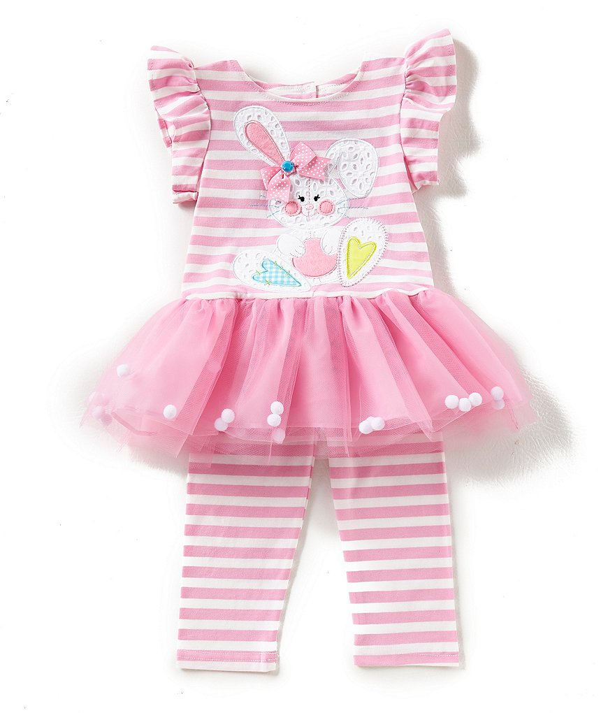 Rare Editions Little Girls 2T-6X Easter Bunny Appliqued Fit-And-Flare Dress & Striped Leggings Set