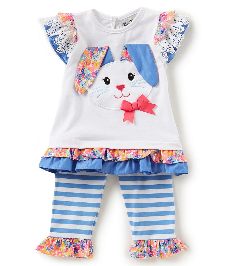 Rare Editions Little Girls 2T-6X Easter Bunny Tee & Striped Leggings Set