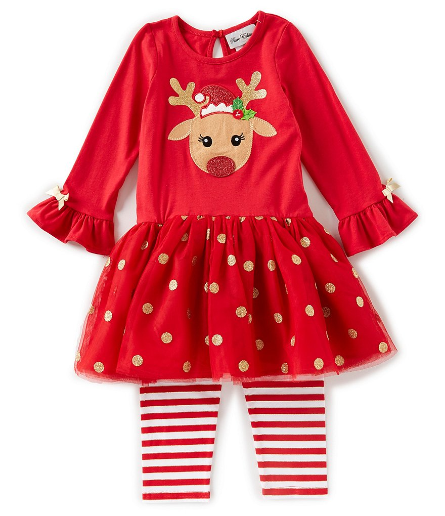 Rare Editions Little Girls 2T-6X Holiday Reindeer/Dotted Tutu Tunic & Striped Leggings Set