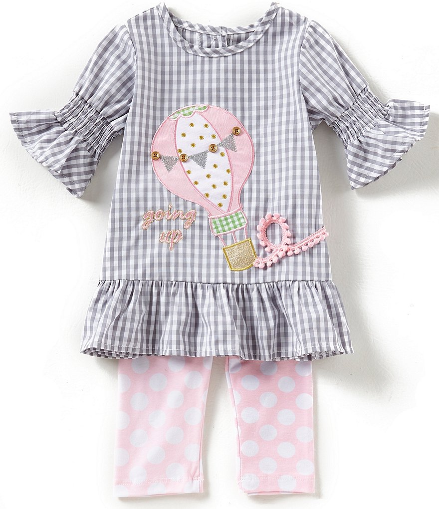 Rare Editions Little Girls 2T-6X Hot Air Balloon Checked Top & Dotted Leggings Set