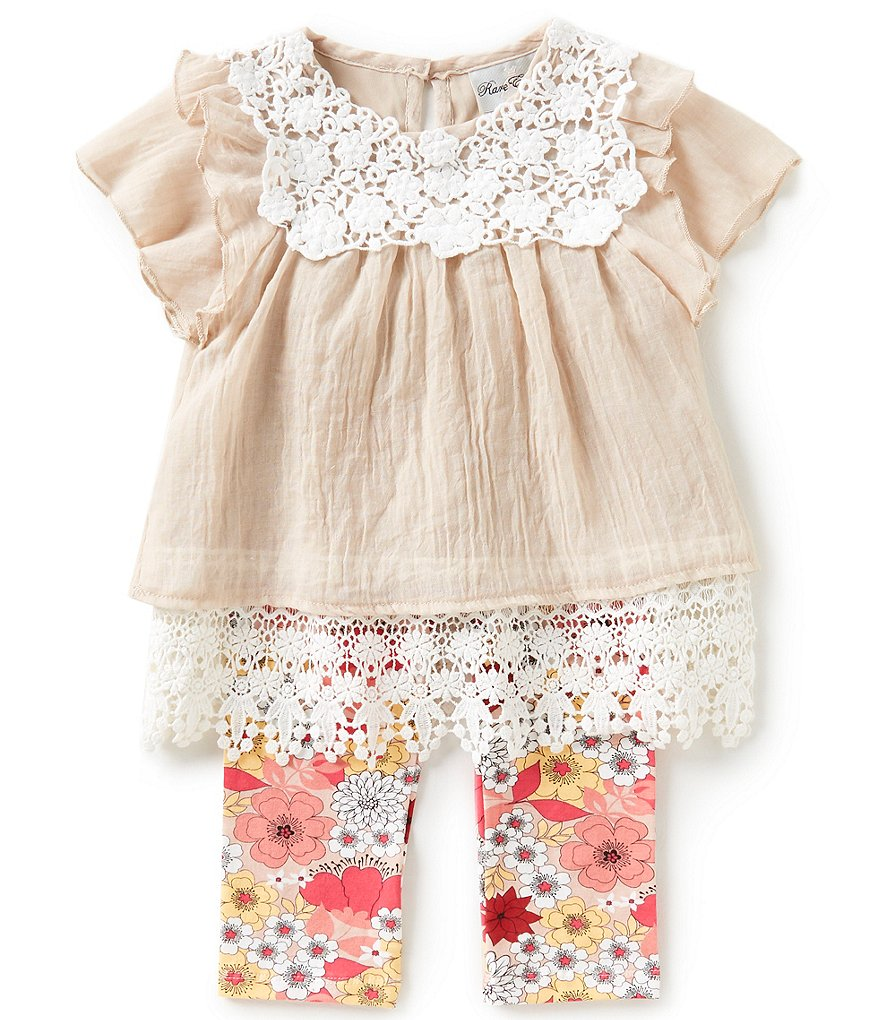 Rare Editions Little Girls 2T-6X Lace-Border Top & Floral-Print Leggings Set