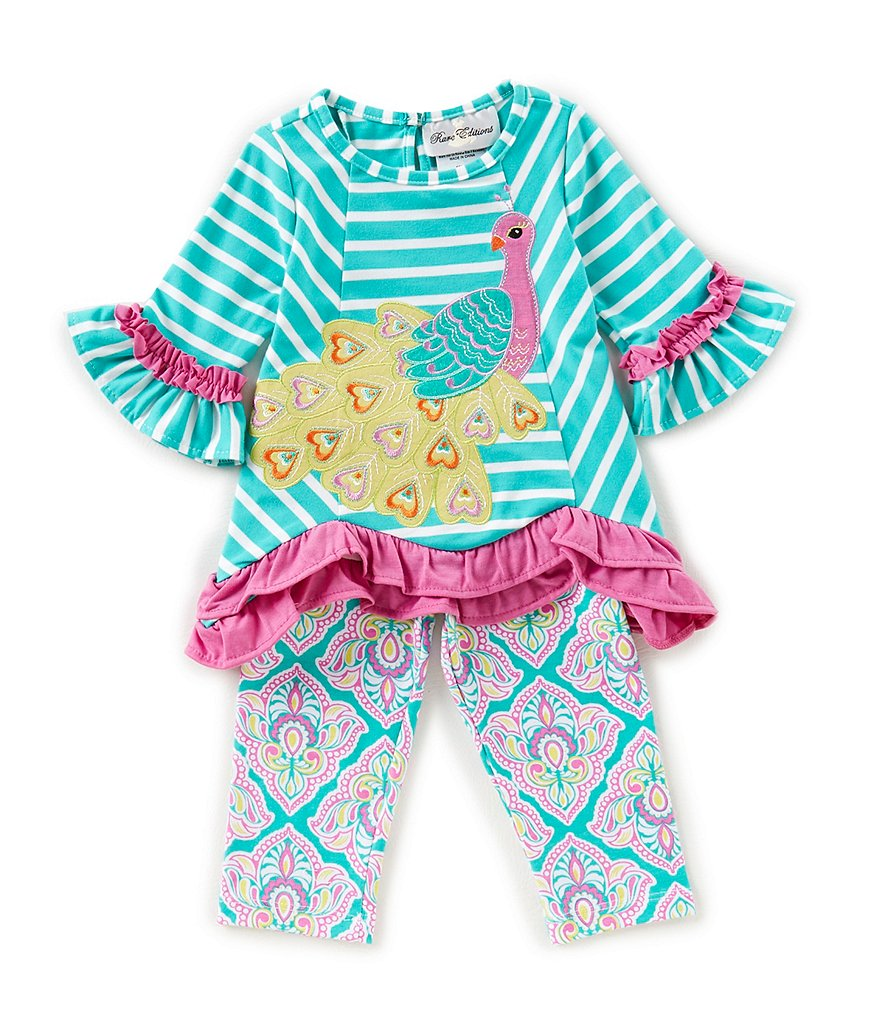 Rare Editions Little Girls 2T-6X Peacock-Applique Tunic Top & Patterned Leggings Set