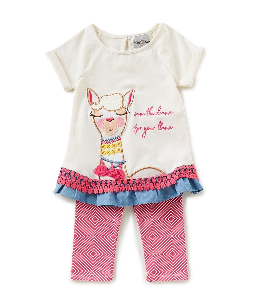 Rare Editions Little Girls 2T-6X Save The Drama Top & Geometric-Print Leggings Set