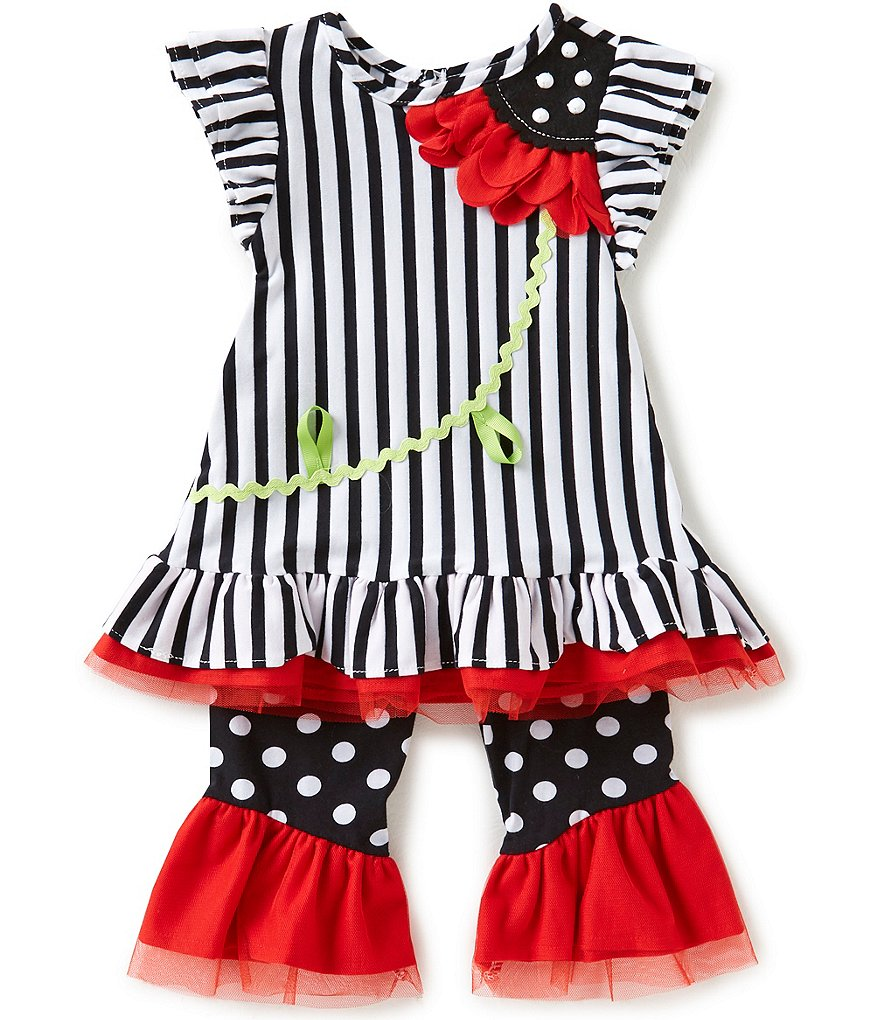 Rare Editions Little Girls 2T-6X Vertical-Stripe Top & Dotted Leggings Set