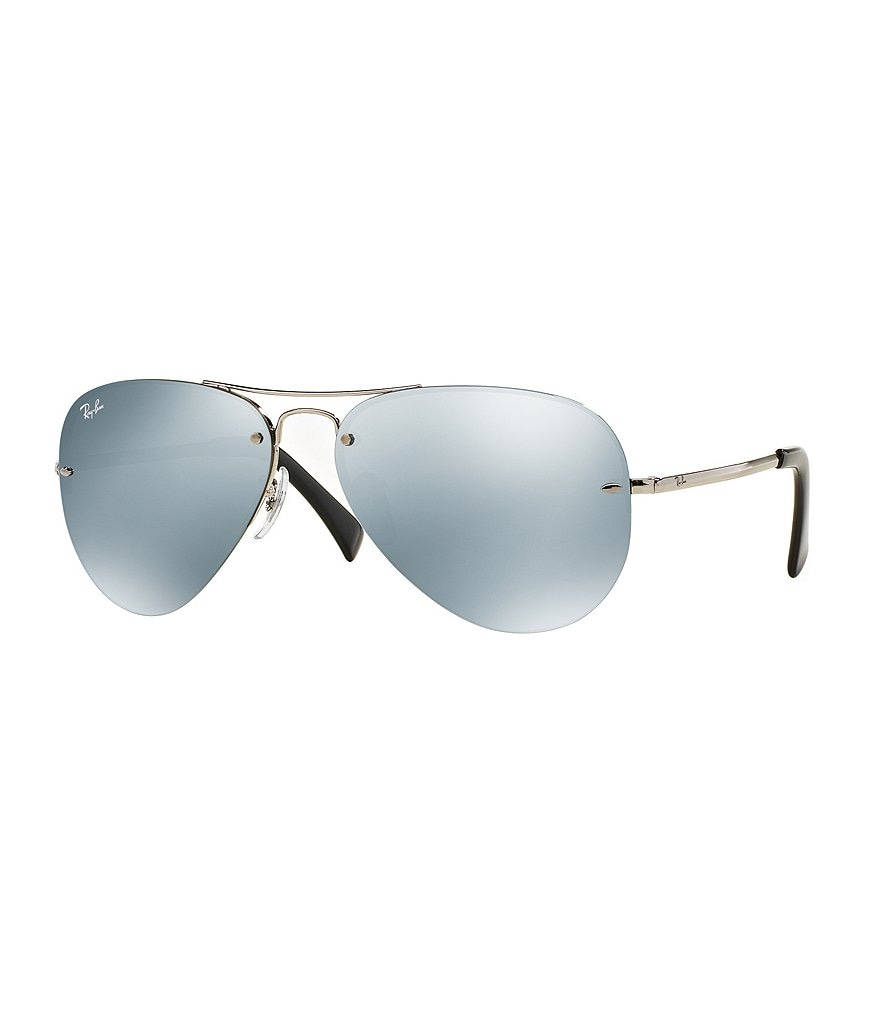 Ray-Ban Semi-Rimless Flash Mirror Double Bridge Aviator Sunglasses