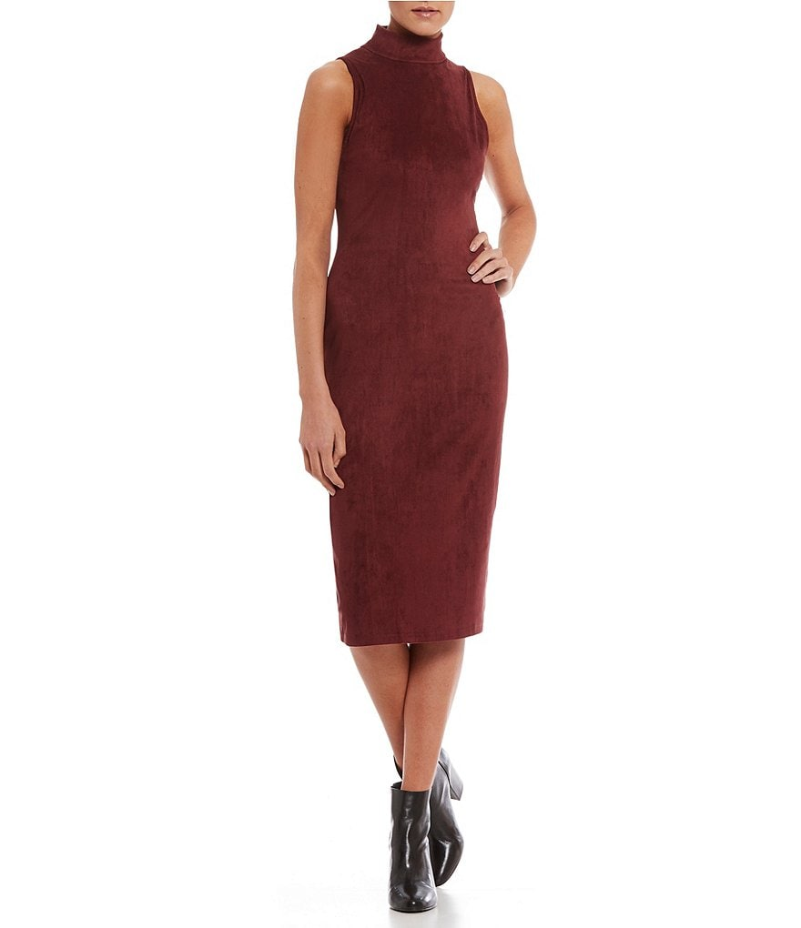 RD Style Mock Neck Faux Suede Dress