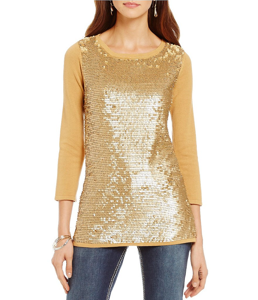 Reba Autumn Rose Faux Leather-Sequin Scoop Neck Sweater