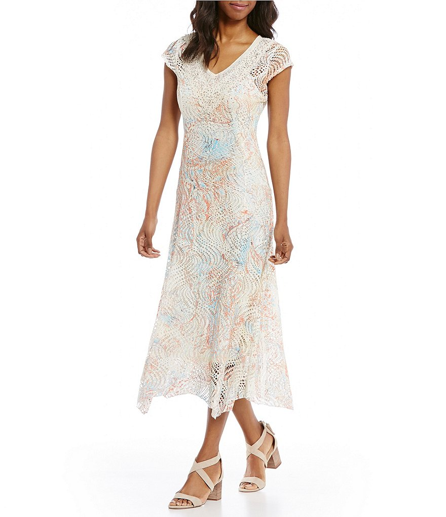 Reba Embellished Printed Laser Cut Dress