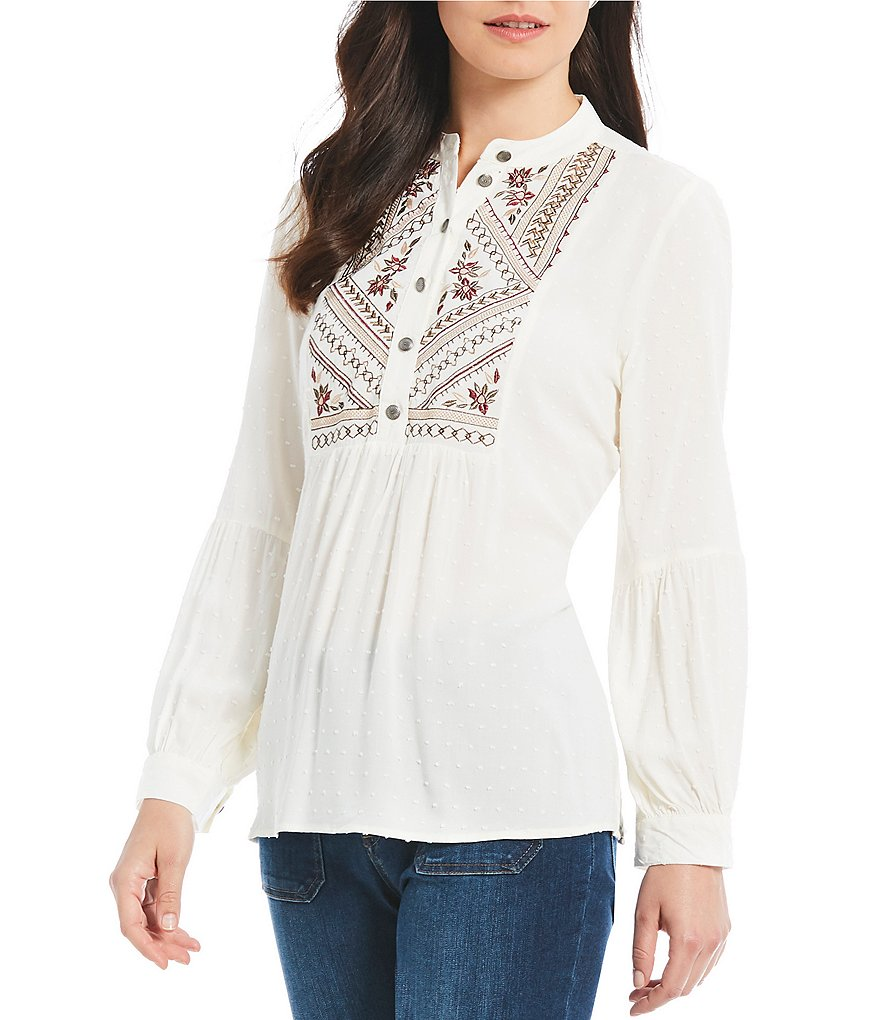 Reba Embroidered Clip Dot Bishop Sleeve Blouse