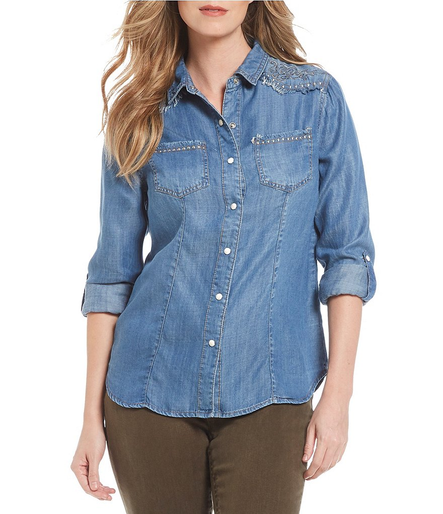 Reba Embroidered Denim Shirt