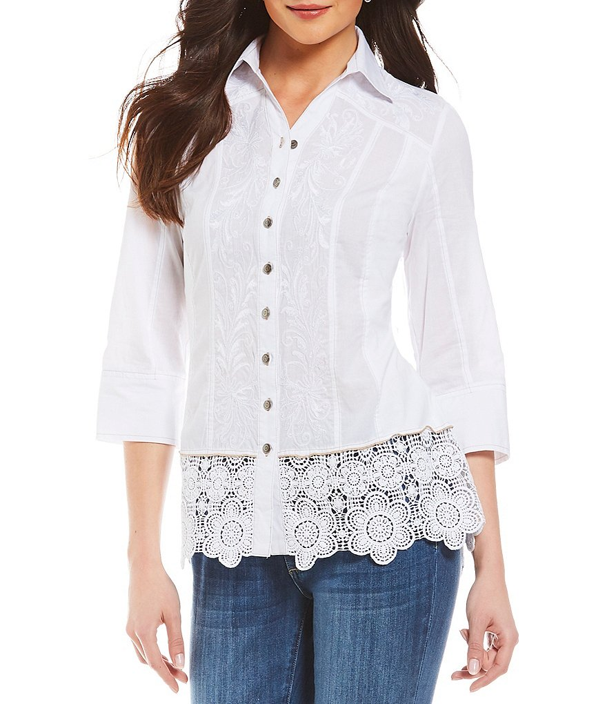 Reba Embroidered Top with Lace Hem