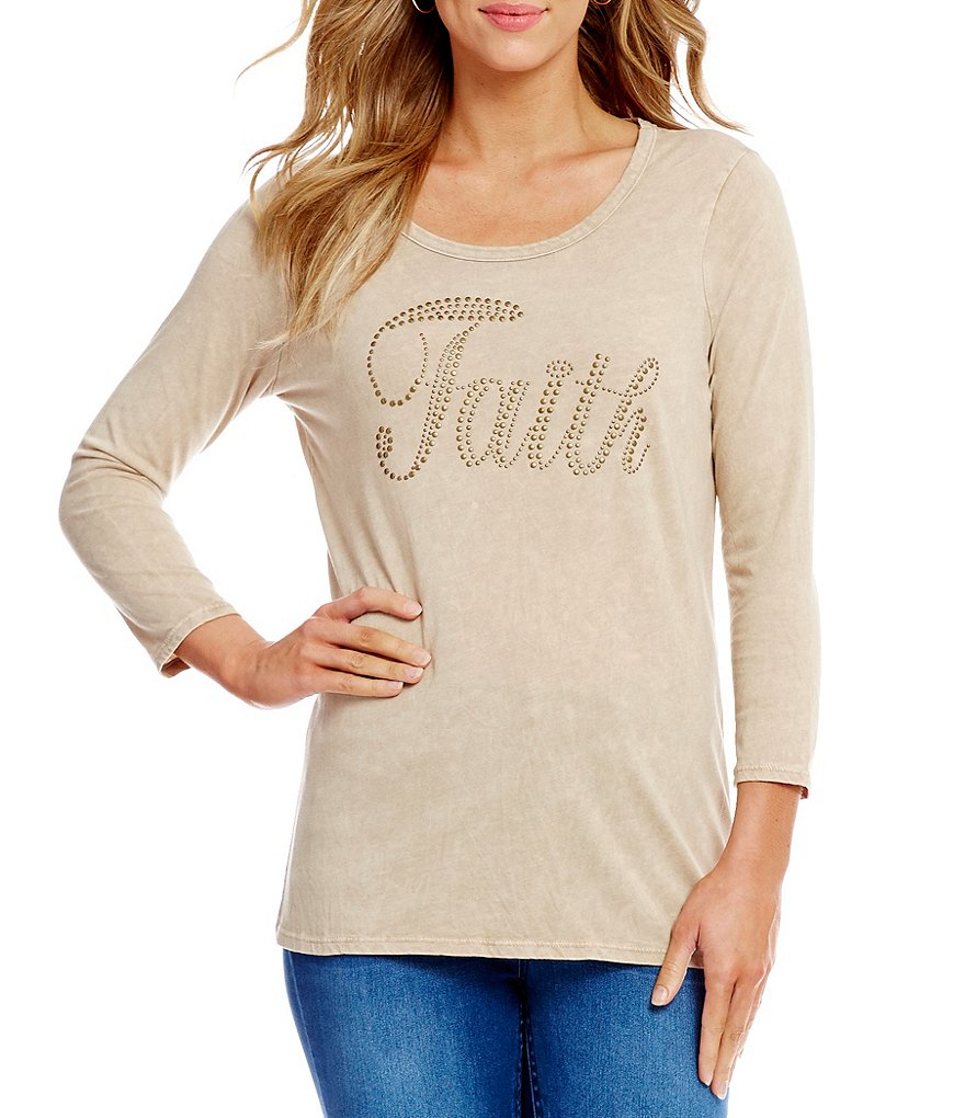 Reba Faith Studded 3/4 Length Sleeve Tee