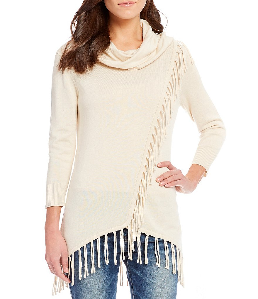 Reba Faux Wrap Cowl Neck Sweater with Fringe hem | Dillards