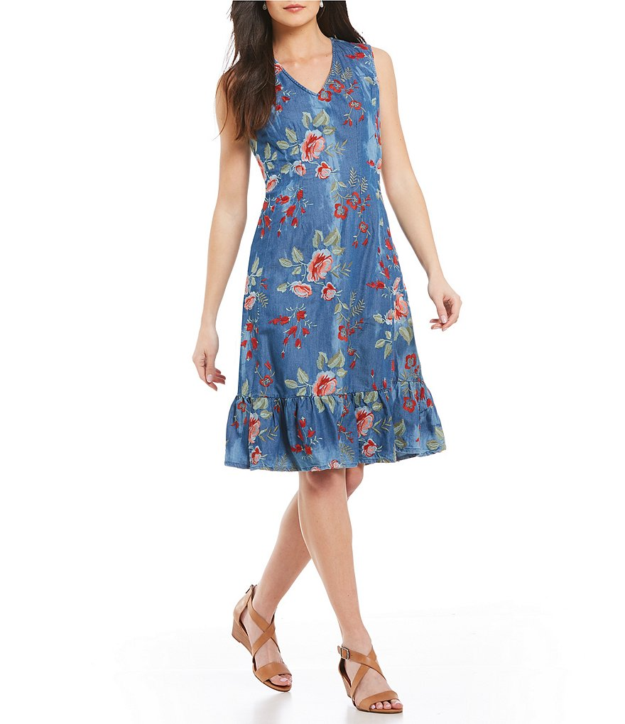 Reba Floral Embroidered Denim Dress