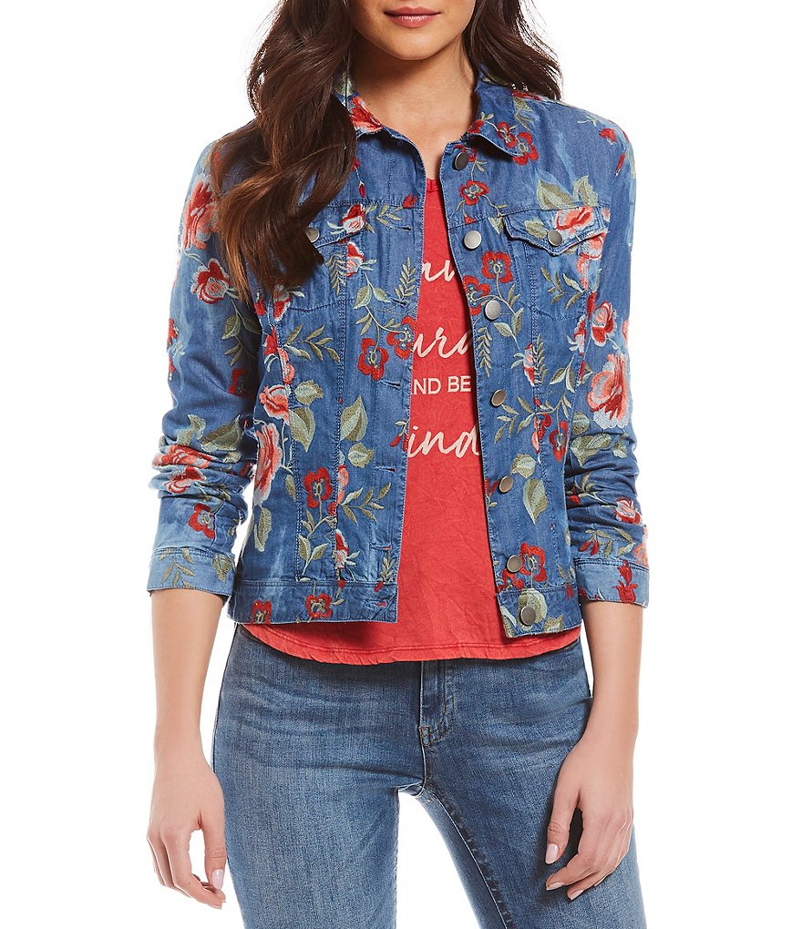 Reba Floral Embroidered Denim Jacket