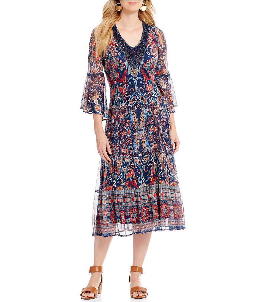 Reba Floral Paisley Printed Mesh Dress