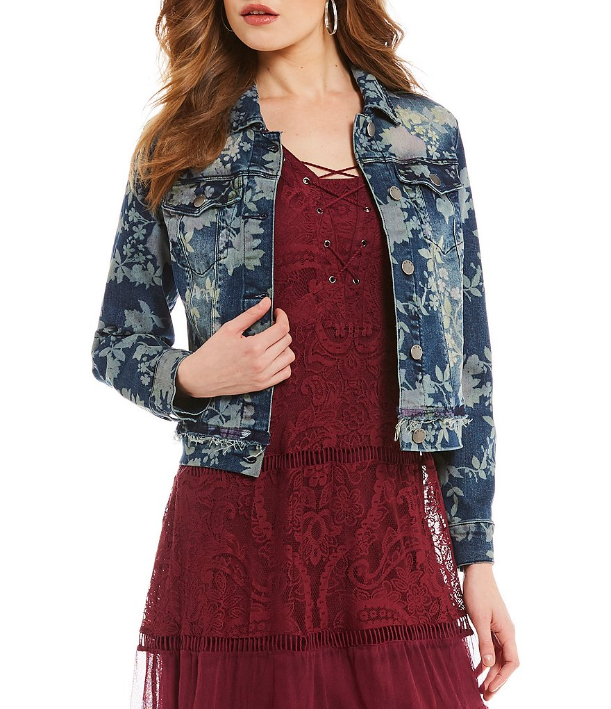 Reba Floral Printed Denim Jacket