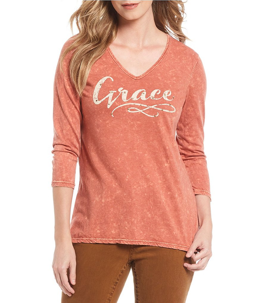 Reba Grace Print Mineral Wash Studded Knit Top