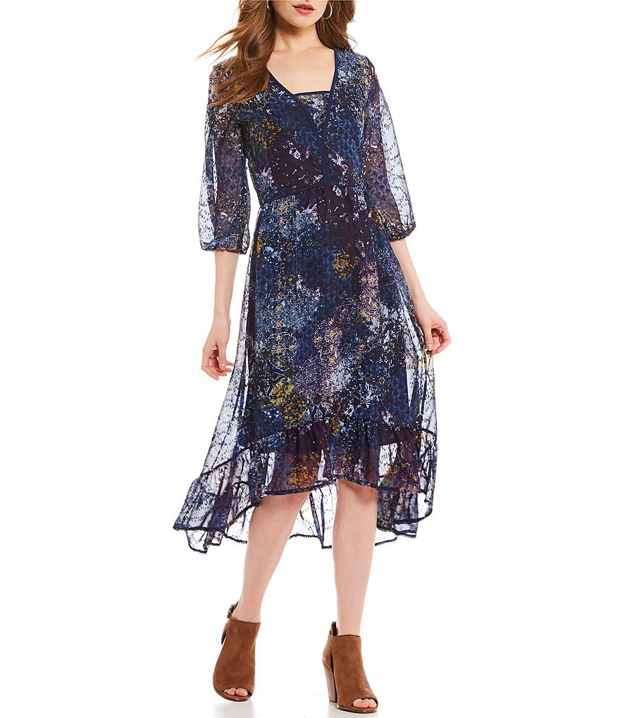 Reba Hi-Lo Printed Ruffle Hem Dress