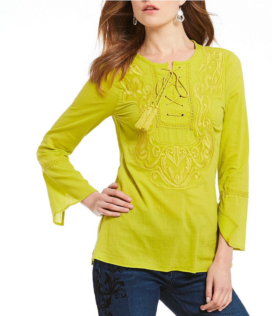 Reba Lace-up Embroided Blouse