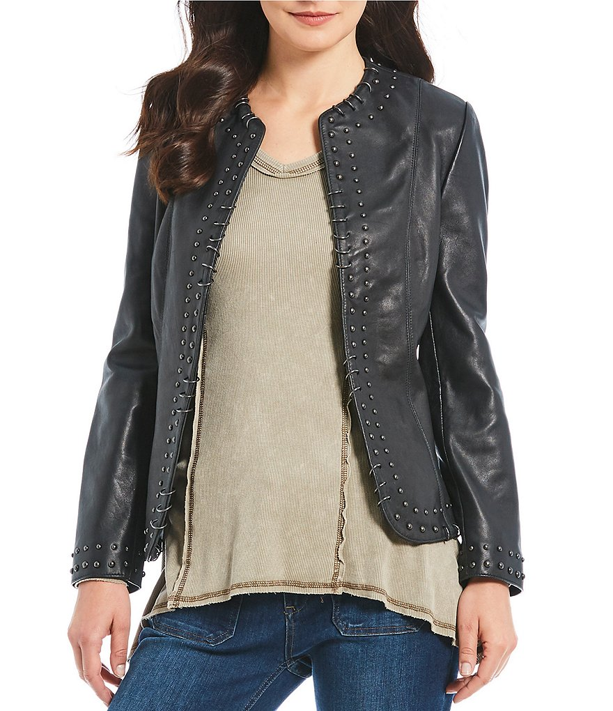 Reba Metal Ring and Studded Open Front Real Leather Jacket