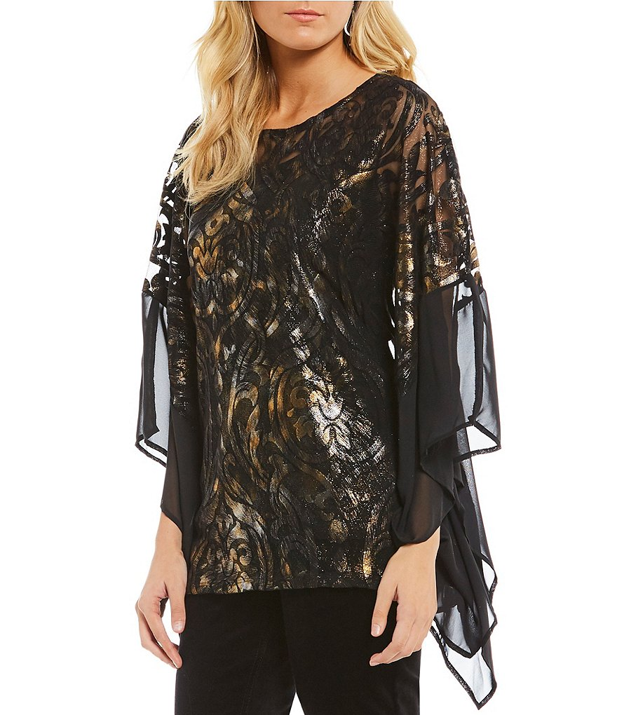 Reba Metallic Printed Burnout Velvet Poncho
