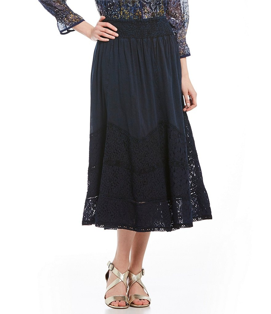 Reba Over-Dyed Voile & Lace Skirt