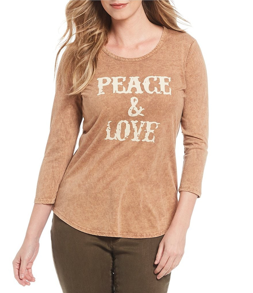 Reba Peace & Love Mineral Washed Knit Top