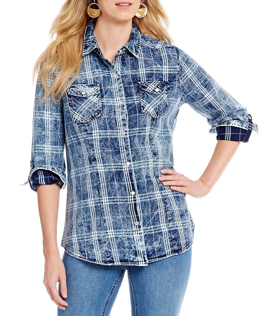 Reba Plaid Denim Shirt
