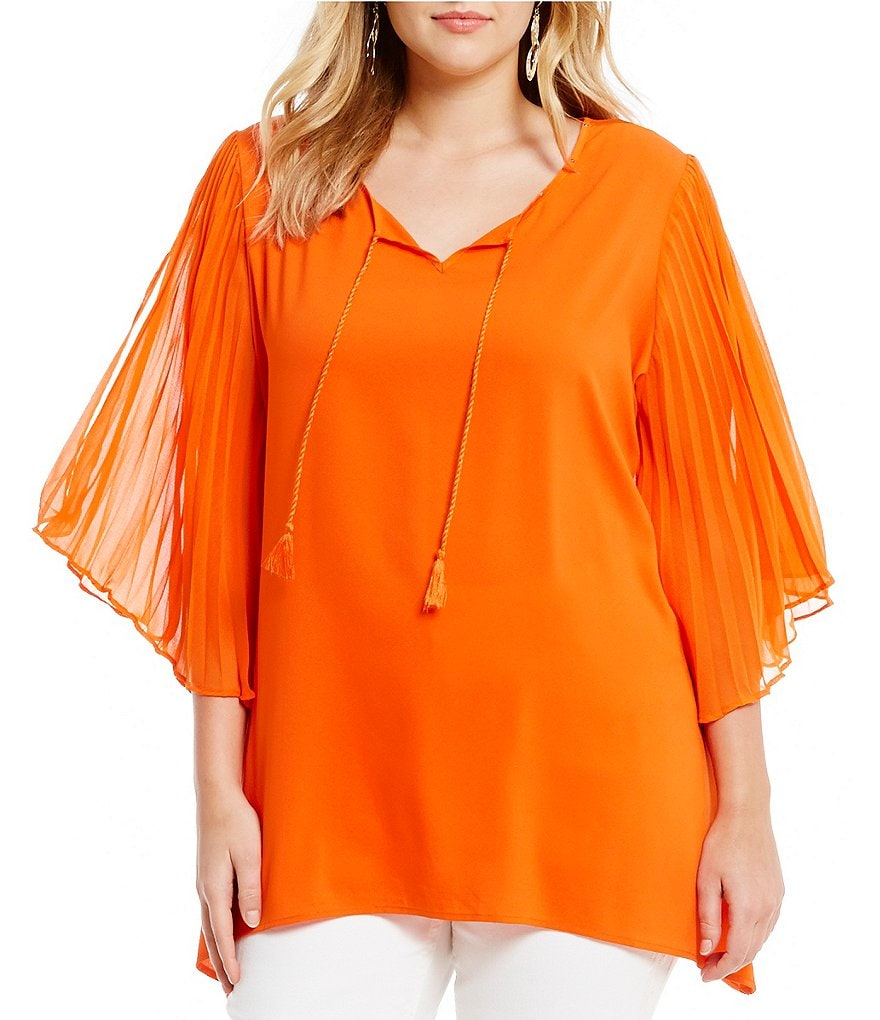 Reba Plus Cassie Pleated Sleeve Blouse