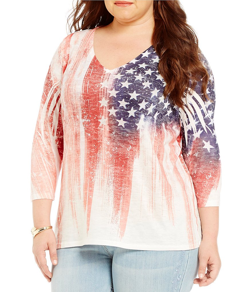 Reba Plus Flag Knit Top