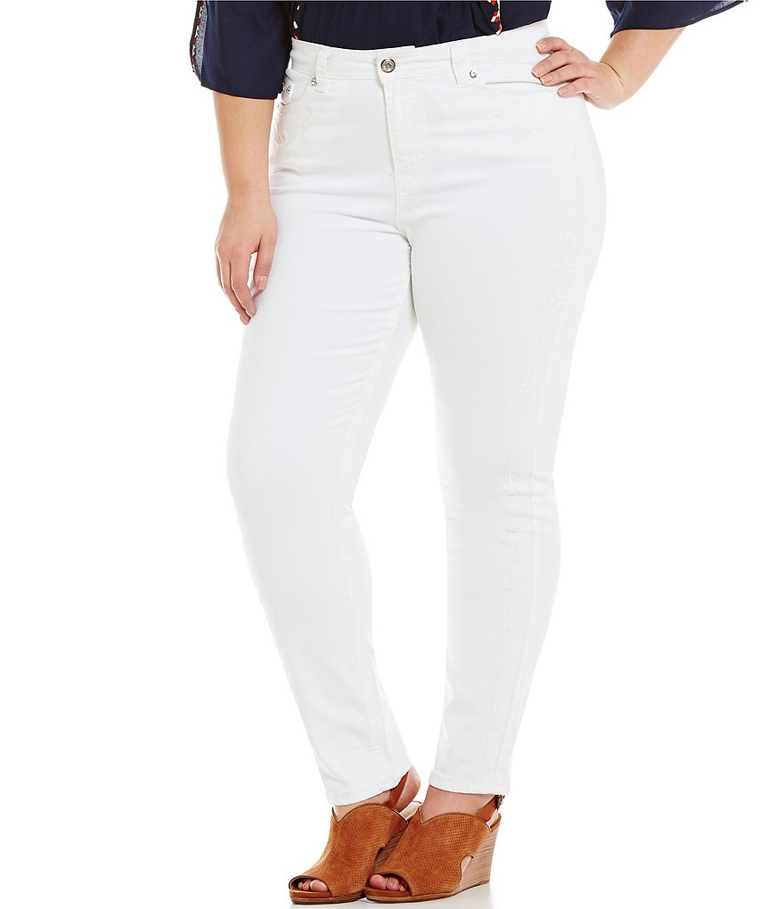 Reba Plus Lupita Embroidered Denim Skinny 5-Pocket Jeans