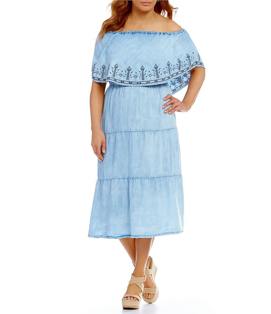 Reba Plus On/Off-the-Shoulder Chambray Tiered Dress