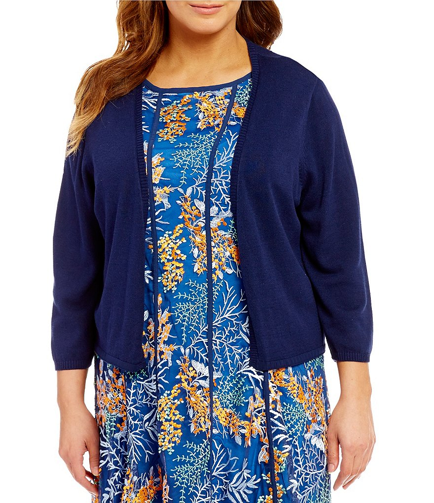 Reba Plus Open Front Knit & Chiffon Cardigan