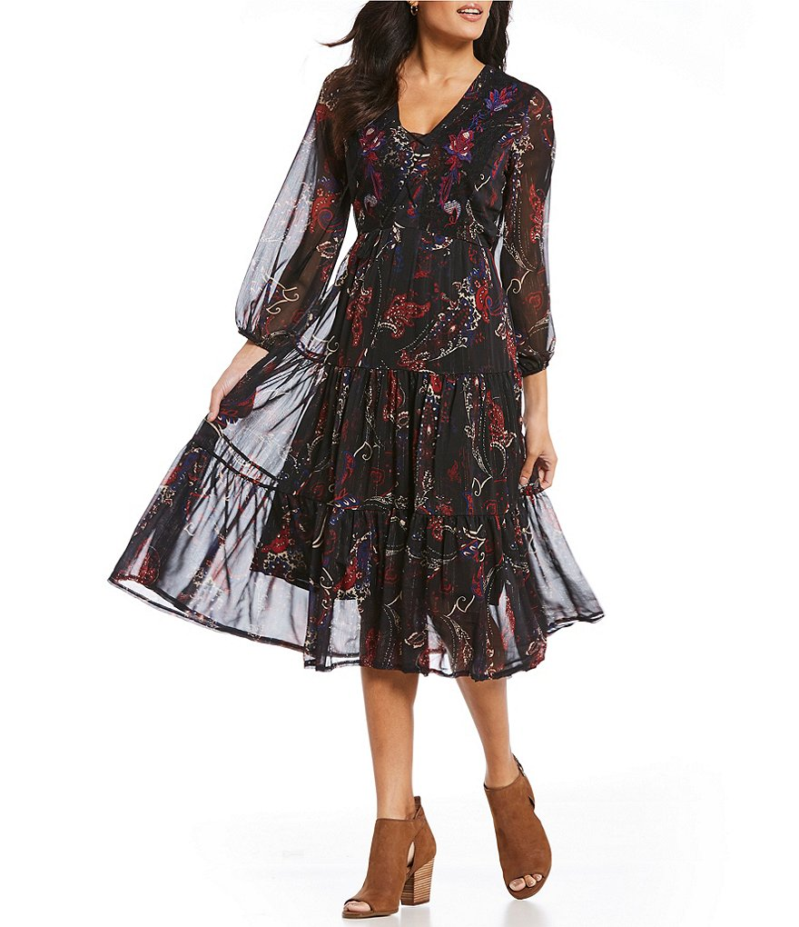 Reba Printed Metallic Dress with Floral Embroidery