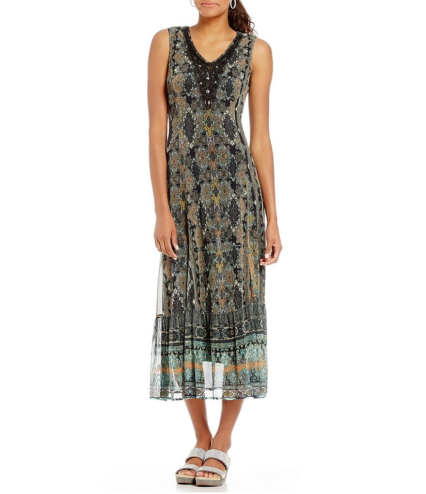 Reba Sleeveless Printed Mesh Dress