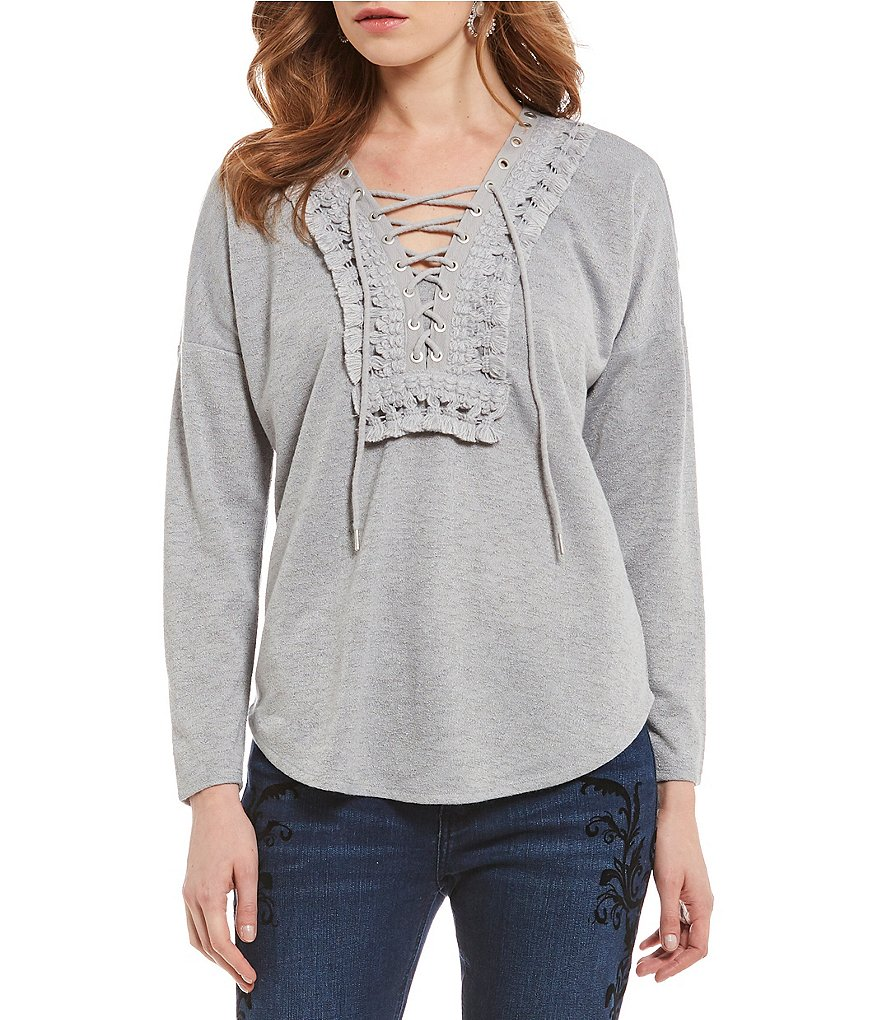 Reba Sweater with Lace-up Tassel Trim Top